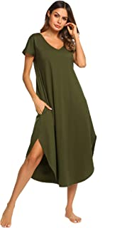 Ekouaer Sleepwear Women's Casual V Neck Nightshirt Short Sleeve Long Nightgown S-XXL