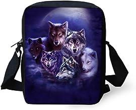 ThiKin Lightweight Crossbody Bag Cool Moon Night Wolf Print Casual Shoulder Bags
