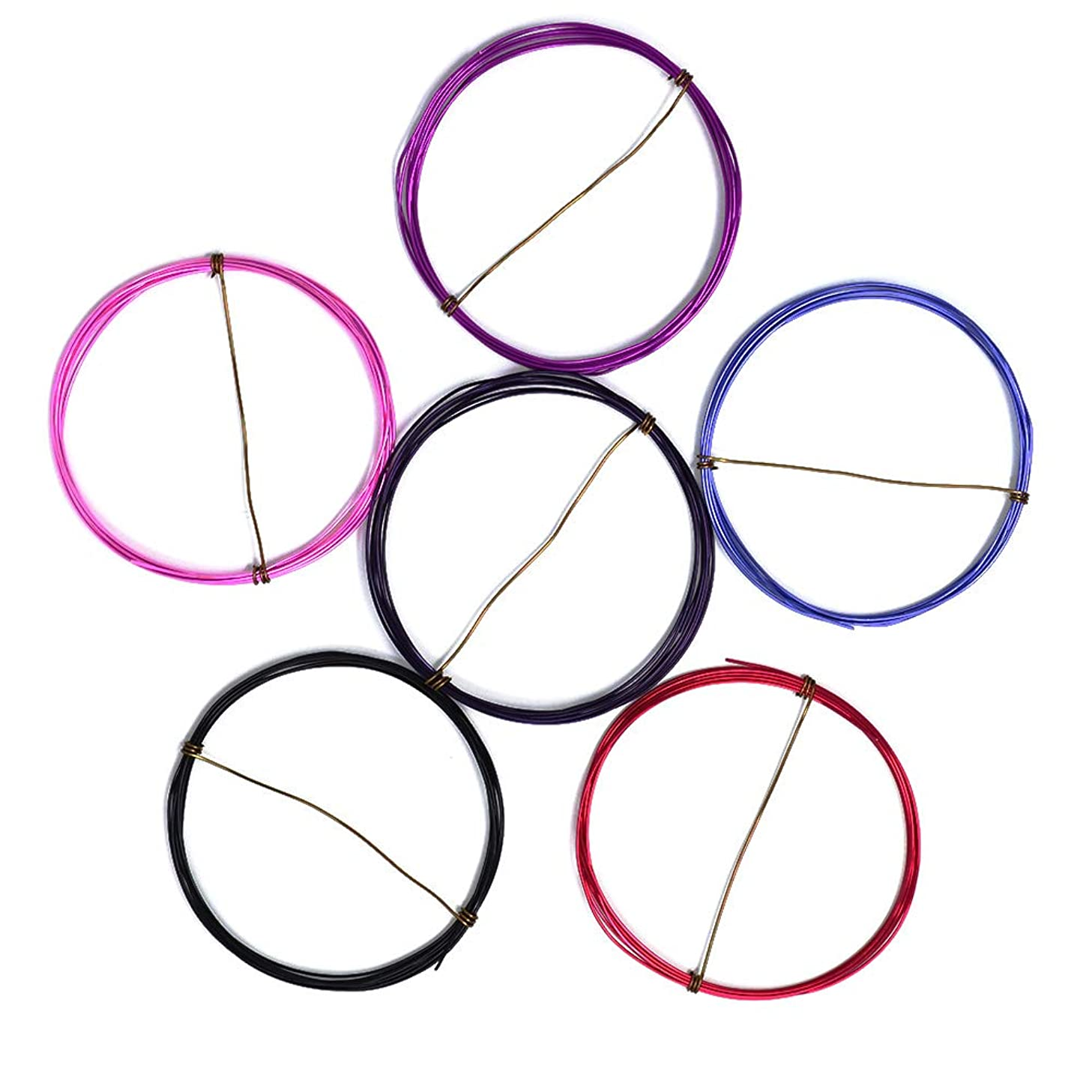 Berry Mix - Enameled Copper Wire Spools – 22 Gauge - Amethyst, Black, Hot Pink, Lavender, Magenta, Purple - 5 feet of Each Color (30 Total feet)