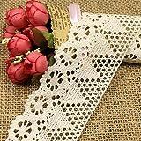 witgift - Cinta de encaje de algodón de estilo vintage para costura, ganchillo, ribetes, collage, álbumes de recortes, paquetes de regalo o decoración, 1,8 m de largo y 7 cm de ancho