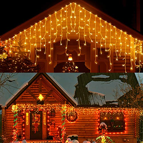 33ft 400 LED Icicle Lights Outdoor, Christmas Decorations Lights ,Outdoor Eaves Curtain Lights with 75 Drops, 8Modes LED Hanging Waterfall Lights Decor for Christmas/Thanksgiving/Halloween