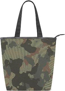 Mnsruu Große Segeltuch-Handtasche, Strandtasche, Reise-Einkaufstasche, grün und braun, Camouflage, gestreift, Sommerurlaub-Handtasche für Frauen und Mädchen