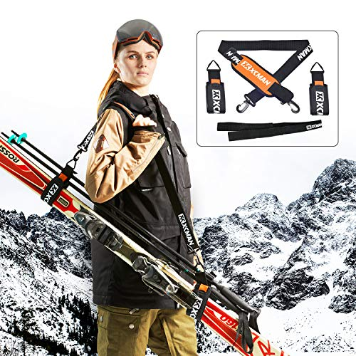 XCMAN Alpine Ski Strap and Ski Poles Strap and Ski Boots Carrier Kit   Effortlessly Transport Your Ski Gear Protects Skis and Poles from Scratches and Damage - Orange