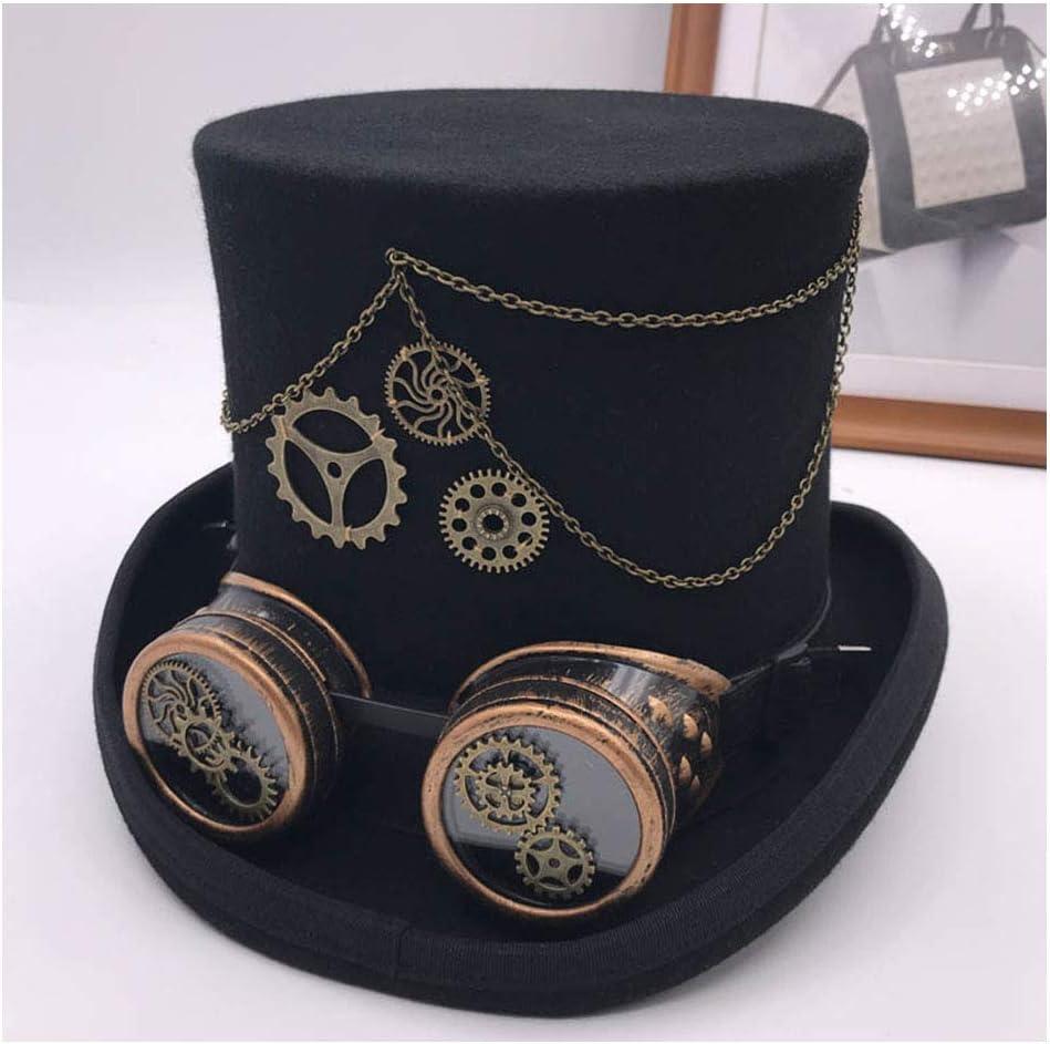TWEITIE Women's Vintage Steampunk Gear Glasses Floral Black Top Hat Punk Style Fedora Headwear Gothic Lolita Cosplay Hat (Color : Black, Size : 57cm)
