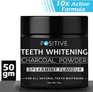 Positive Activated Charcoal Teeth Whitening Powder I Enamel Safe Teeth Whitener | Suitable For Sensitive Teeth, 50 g