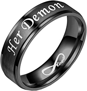 Stainless Steel Couple Ring Set Angel and Demon for Lovers Promise Band Rose Gold Black