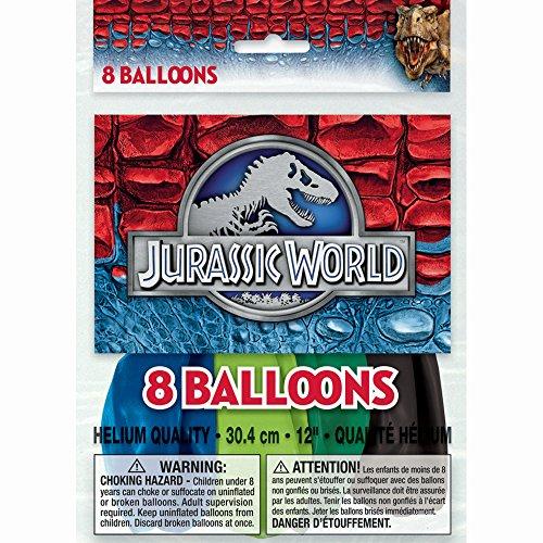 "12"" Latex Jurassic World Balloons, 8ct"