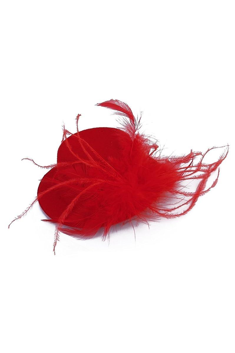 名前を作るマニュアル内訳CUHAWUDBA CUHAWUDBA(R)女性赤い羽のヘアピンミニレッドハット