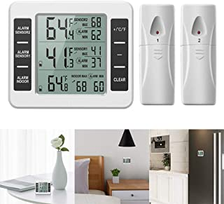 Powstro Termómetro inalámbrico para frigorífico o congelador con alarma audible para interiores y exteriores, con