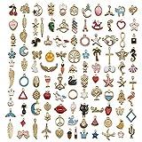 110 pezzi ciondoli misti in metallo charms in lega, pendenti ciondoli assortiti placcati in oro smaltato animale stelle luna ciondoli per bracciale collana orecchini creazione di gioielli