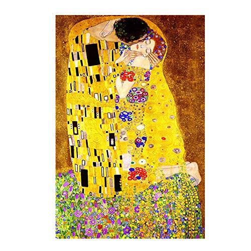 DXNB Artista de Oro Gustav Klimt Beso Pintura al óleo Abstracta sobre Lienzo Impresión de póster Arte Moderno Cuadros de Pared para Sala Cuadros 30X45cm Sin Marco