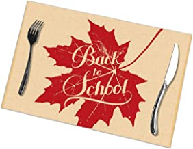 Gorgeous ornaments Placemats for Dining Table Set of 6,Vector Education Illustration of Back to School Retro Label with Maple Leaf