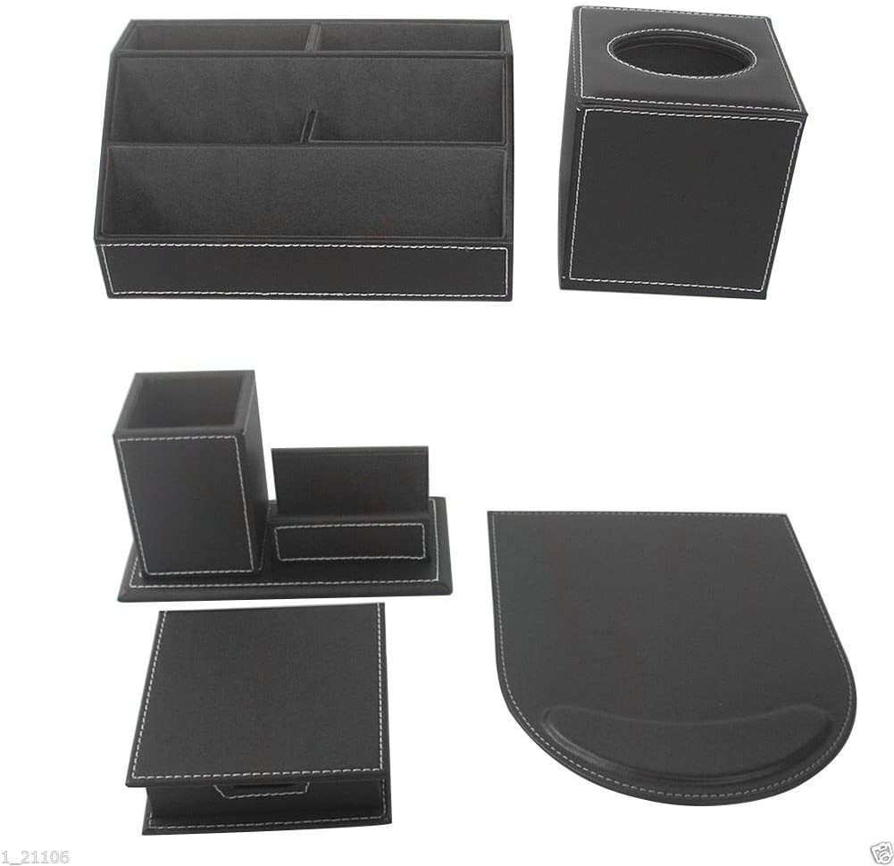 KINGFOM™ Office Desk Stationery Organizer 5 pcs/set, Tissue Box Cover, Mouse Pad, Pencil&Cards Holders, Self-stick Note Pads Holder (T50-5-Black)