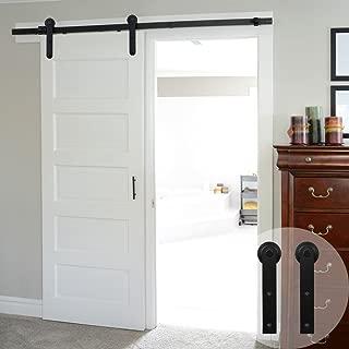 WINSOON 5/6/8/10/12/13/15/16FT Black Straight Design Sliding Roller Barn Single Wood Door Hardware Closet Track Kit Set (6.6FT Single Door Kit)