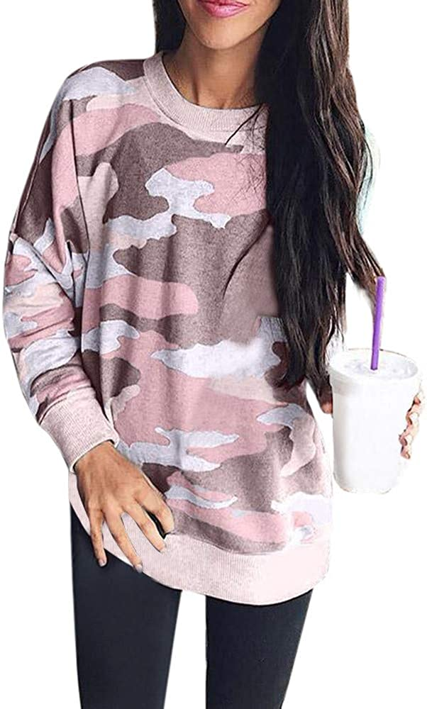 Womens Tops and Blouses,Women's Camouflage Batwing Sleeve Shirts Patchwork Pullovers Casual Top Sweatshirt