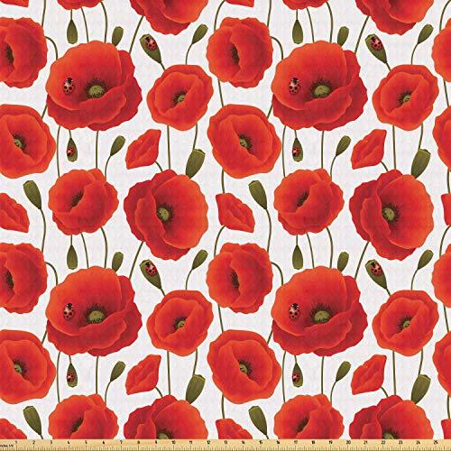 ABAKUHAUS Amapola Tela por Metro, Floral flor de la primavera, Tela Elastizada Estampada para Costura Arte y Bricolaje, 1 Metro, Naranja verde verde oliva blanca