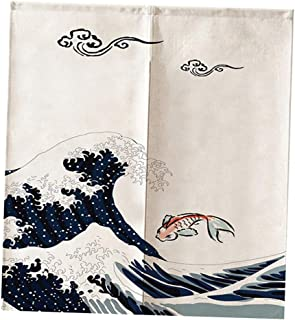 Flameer Japanese Doorway Curtain Noren Rabbit Under Moon for Home Decoration 85x90cm - Sea Wave