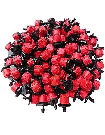 100Pcs emettitore Drippers regolabile rosso flusso giardinaggio Drip 8 micro fori Dripping ugelli di irrigazione Attrezzi da giardinaggio Accessori per Prato Giardino Erbe Giardini Watering