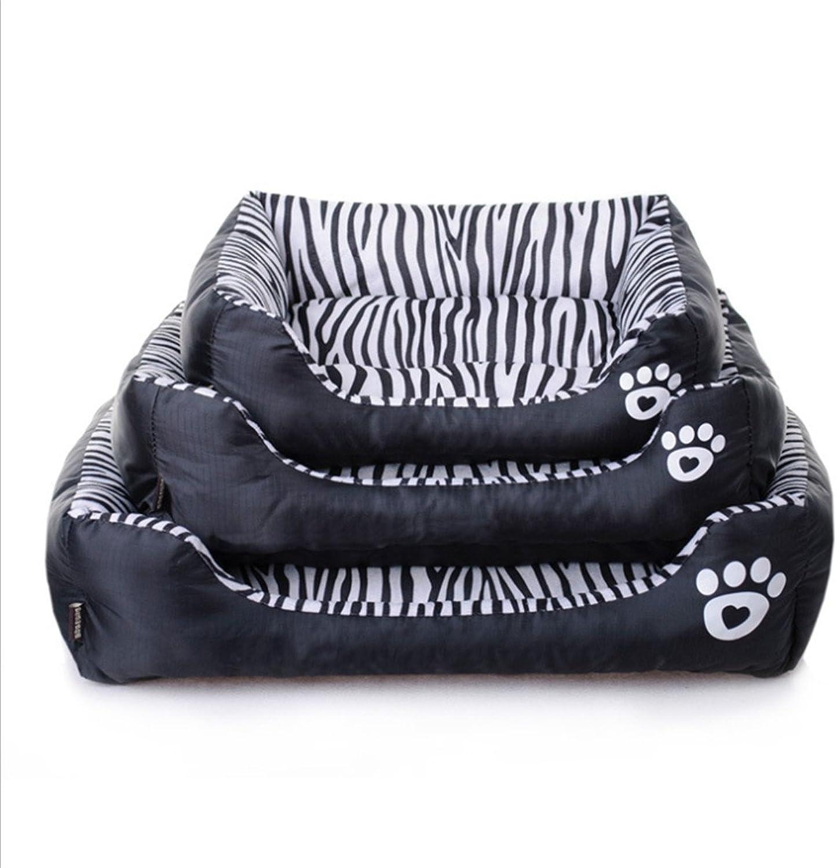 CHWWO Pet Supplies Waterproof Zebra Pattern Pet Waterloo Cat nest Teddy Dog Bed Sofa Cushion Kennel (Three Sizes are Optional), M