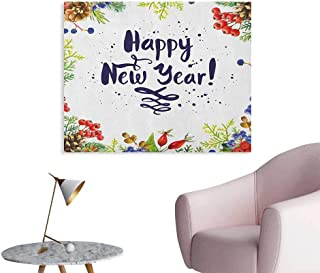 Anzhutwelve New Year Art Stickers Rowan Cones Wild Grapes and Arborvitae Branches Composition with Happy Year Quote Funny Poster Multicolor W48 xL32