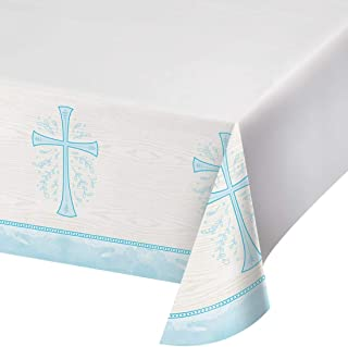 "Creative Converting Divinity Blue Plastic Tablecloth, 54"" x 102"""