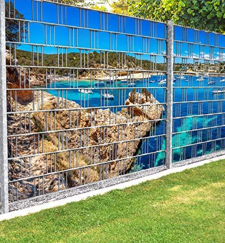 MyMaxxi Infinity Zaunsichtschutz | Beach 02 beide Teile Motiv| Sichtschutzstreifen für Doppelstabmattenzaun | Windschutz Sonnenschutz Blickdicht | Polyester Gewebe Garten |Balkon Sichtschutz