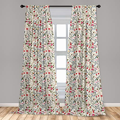 """Ambesonne Floral Window Curtains, Vibrant Colored Complex Image Birds with Roses Leaves and Polka Dots Nature Scenery, Lightweight Decorative Panels Set of 2 with Rod Pocket, 56"""" x 95"""", Cream Pink"""