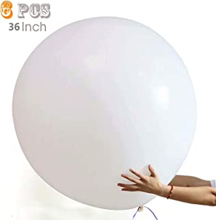 36 Inch Giant Latex Balloon (Premium Helium Quality) Pkg/6 Big Latex White Balloons for Party/ Birthdays /Wedding/Festivals Christmas and Event Decorations