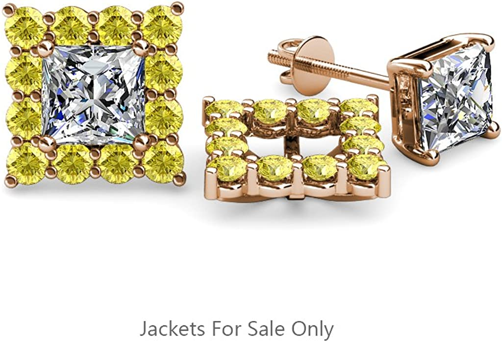 TriJewels Yellow Sapphire Halo Jacket for Princess Cut Stud Earrings 0.76 ct tw in 14K Rose Gold