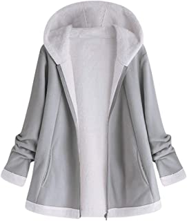 aihihe Plus Size Coats Jackets for Women Witer Warm Fluff Lining Zip Up Solid Short Coat Outerwear Parka with Pockets