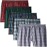 Fruit of The Loom Men's Woven Tartan and Plaid Boxer Multipack (XX-Large (44-46), Assorted Tartan - 5 Pack)