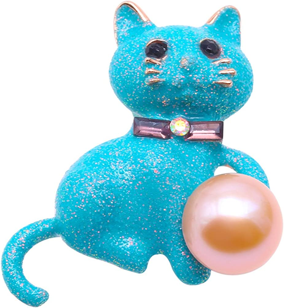 JYX Pearl Animal Cat Brooch Lavender Freshwater Cultured Pearl Brooches Pins for Women