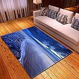 DRTWE Alfombra,Teppich,Pretty Blue Sky Sea Surface Printed Velvet Area Rug For Living Room Large Size Anti-Skid Fluffy Shaggy Rug Bedroom Doorway Carpet Nursery Play Pad Carpet Runner,122 * 183Cm
