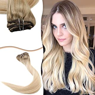 Easyouth Sew in Hair Extension Remy 16inch 80g Each Bundle 6 Fading to 27 Highlight with 60 Weave in Hair Extensions Remy Hair Bundles