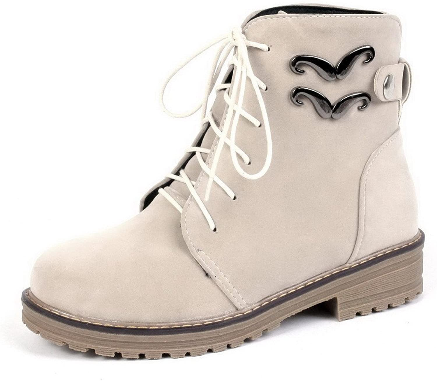 WeenFashion Women's Lace-Up Round Closed Toe Low Heels Imitated Suede Low-Top Boots