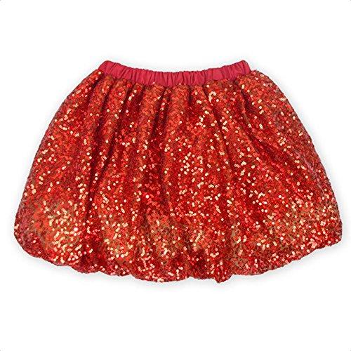 Coralup Little Girls Sparkle Sequins Ballet Tutu Skirts D7006(Red,5-6Y)