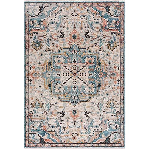 MyShop24 Teppich Wohnzimmer - Boho Design - 200x290cm Vintage Beige - Ornament Muster - Deko Schlafzimmer - Kurzflor Orientalisch mit Fransen Oeko-Tex Standard 100