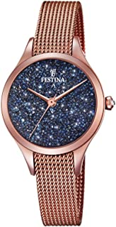 Festina Women's Quartz Mademoiselle Swarovski Blue Dial Analog Wrist Watch for Women with Rose Gold Case and Rose Gold Mesh Strap analog Display and Stainless Steel Strap, F20338/3