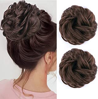 MORICA Messy Bun Hair Scrunchies 2PCS Messy Bun Hair Piece for Women Curly Wavy Scrunchy Updo Bun Extensions(Color:8#)