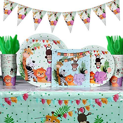 Heboland Dschungel Jungle Partygeschirr Kindergeburtstag Set (114Pcs ) Pappbecher Gabeln, Löffel und Messer Tischdecke Geschirr Teller Becher für 16 Kinder Kindergeburtstag Party Deko
