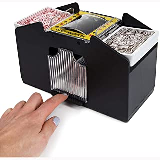 Yuehuam Playing Card Shuffler, Automatic Battery Operated 4 Pack Electric Poker Cards Shuffling Machine for Home Party Clu...