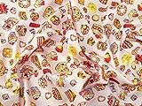 Baumwoll-Popeline-Stoff, Motiv Cupcakes und Süßigkeiten,