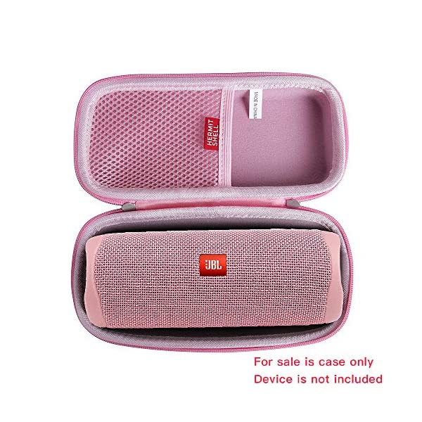 hermitshell hard travel case fits jbl flip 5 waterproof portable bluetooth speaker (pink)