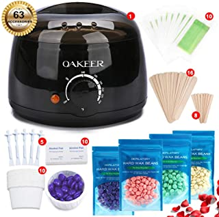 OAKEER Hair Removal Wax Warmer Kit Home Wax KitWomen Men New Waxing Kit Body Waxing,63 Accessories