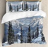 HUA JIE Bedding Set Juego Juego Funda Nórdica Invierno, Paisaje Invierno Épico con Pinos Nevados En Suiza Woodland Forest Print, Juego 3 Piezas