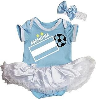 Petitebella Argentina Flag Soccer Blue White Bodysuit Tutu Baby Dress Nb-18m