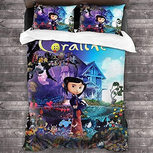 CUICUI Coraline & The Secret Door Juego de ropa de cama, juego de funda de edredón Coraline para todas las estaciones, juego de ropa de cama, animación 3D (135 x 200 cm, 50 x 75 cm x 2, Coralin3)