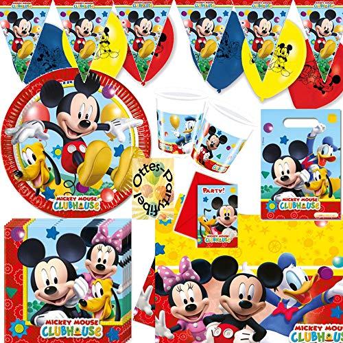 Mickey Mouse Clubhouse Party-Set Partygeschirr mit Dekoration 56 Teile für 6 Kinder