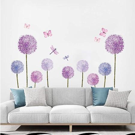 ufengke Pegatinas de Pared Diente de León Morado Vinilos Adhesivos Pared Mariposas Flores Decorativos para Dormitorio Habitación Infantiles Niñas