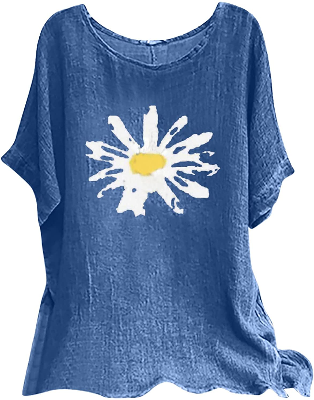Cotton Linen Tops for Women, Summer O-Neck Short Sleeve Shirt Casual Loose Print T-Shirt Blouse
